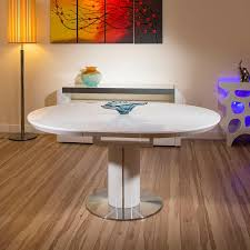 modern dining table white gloss round oval extending 1200 1600mm
