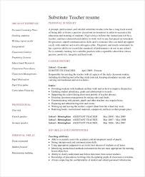 Substitute Teacher Job Description For Resume Teacher Resume Examples 23 Free Word Pdf Documents Download