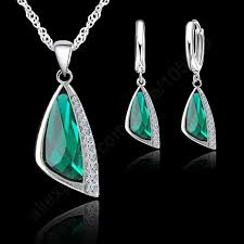 silver crystal pendant necklace images 925 sterling silver austrian crystal pendant necklace hoop earring jpg