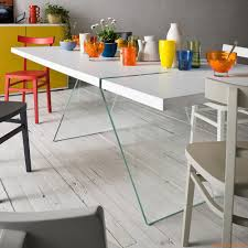 alceo fixed design table 160x90 cm with glass legs top in