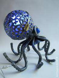 octopus lamp sculpture made of recycled parts