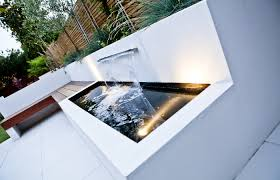 Family Garden Design Ideas Modern Water Feature In The White Patio Section Of The Garden