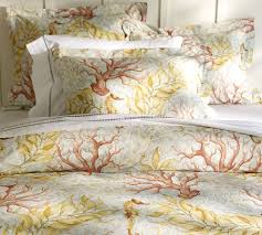 beach themed bedroom design with organic sea coral bedding sheets