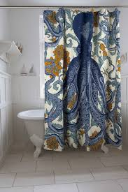 blue octopus shower curtain adds great style to the bathroom decor