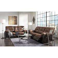 two tone faux leather double reclining loveseat w console by