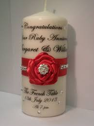 ruby gifts personalised ruby anniversary candle gift