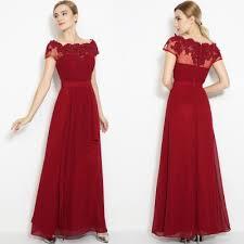short sleeve floral lace maxi prom evening dress oasap com