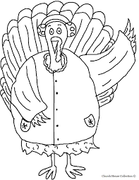 turkey wearing earmuffs and coat coloring page