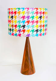 Lamp Bases Turned Wood Lamp Base With Houndstooth Lamp Shade Beautiful