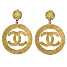 gold dangle earrings chanel cc large gold dangling earrings for sale at 1stdibs