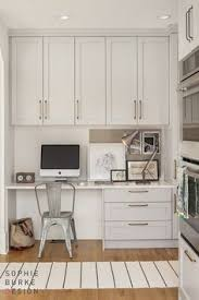 Design Home Office Using Kitchen Cabinets White Built In For Office Built In Office In The Kitchen
