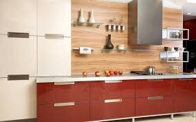 Red Birch Kitchen Cabinets Kitchen Beautiful Red Kitchen Cabinet With Flower Design The