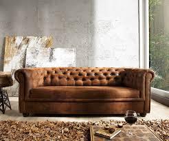 Esszimmerst Le Leder Optik Sofa Chesterfield 200x92 Braun Antik Optik 3 Sitzer Couch Möbel