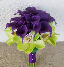 purple lillies wedding purple calla lilies and green cymbidium touch
