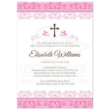 confirmation invitations pink damask holy communion confirmation invitation
