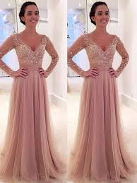 buy a line deep v neck sweep train long sleeves blush tulle prom