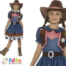 texan cowgirl blue gingham wild west age 4 12 girls childs fancy