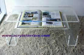 Plexiglass Coffee Table One Acrylic Coffee Table Lucite End Table Bed Table