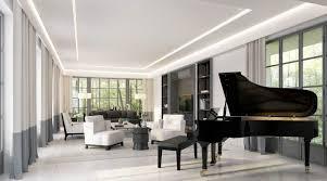 Modern Single Wooden Sofa Living Room Black Grand Piano Also Wooden Bench Plus Black Plush