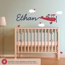 airplane wall decal boy name skywriter for baby nursery kids room airplane wall decal boy name