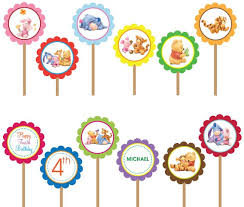 winnie pooh printable diy custom party circle cupcake toppers