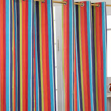 Orange And Blue Curtains Homescapes Multi Stripes Orange Blue Yellow Eyelet Curtain