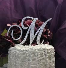 h cake topper monogram cake topper 5 swarovski wedding cake topper