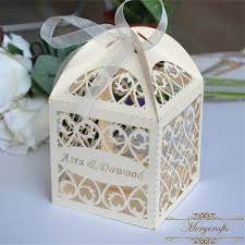 personalized wedding favor boxes 50pieces ivory laser cut filigree personalized wedding favor box