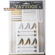 1sheet artilady metallic tattoo big size feather arrow gold silver