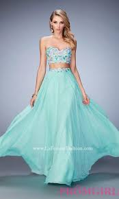 mint green two piece la femme sweetheart long prom dress