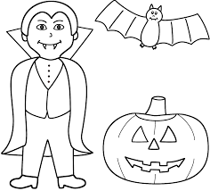 vampire with pumpkin jack o lantern and bat coloring page