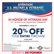 bed bath and beyond norfolk 20 off for military at bed bath beyond 11 9 11 11 at totally