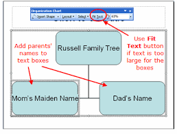 family trees using the powerpoint organization chart