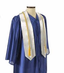 blue cap and gown only satin or matte finish