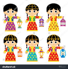 arab gulf logo girls wearing old traditional clothes some stock vector 622225520