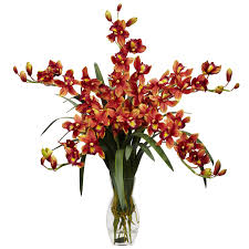 Faux Floral Centerpieces by Interior Design Cymbidium Orchid Silk Flower Arrangement With