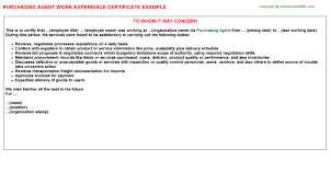 Sample Resume For Purchasing Agent Purchasing Agent Work Experience Certificate