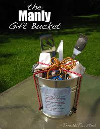 manly gift bucket a new kind of gift basket tried u0026 twisted