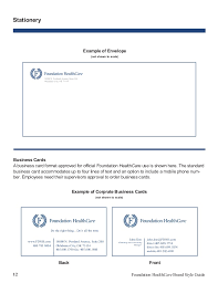 Standard Business Card Format Fdnh Brand Style Guide 2015