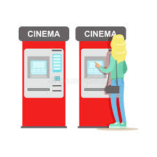 woman buying tickets in cinema automatic vending machine part of