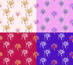 four seamless abstract floral patterns set of backgrounds of