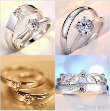 online rings silver images Mix 925 sterling silver couple rings heart shaped adjustable halo jpg