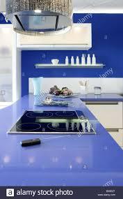 blue white kitchen modern interior design house architecture stock