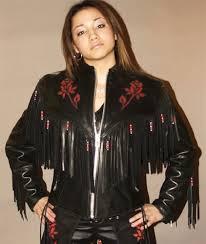 women u0027s red rose leather jacket with fringe u0026 beads
