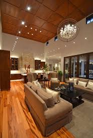 High Ceiling Lighting Impressive High Wooden Ceiling With Artistic Pendant Lights For