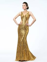 golden sequins v neck straps sweep train trumpet mermaid prom