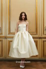 wedding dress with pockets gown tea length strapless fashion fall wedding dress with