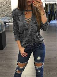 grayish green camo plunge lace up front long sleeve t shirt