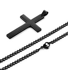 mens necklace with cross images Jstyle stainless steel chain black cross necklace for men women jpg
