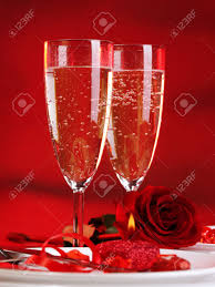 photo of beautiful valentine day dinner still life two glasses